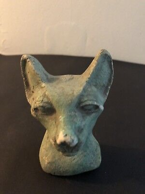 Rare Ancient Egyptian Blue Cat Bust  2800 BC -2750 BC