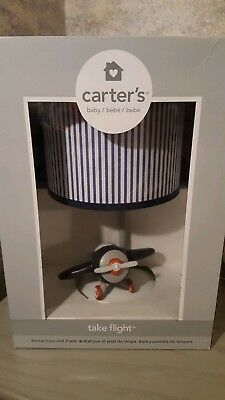 Carter's Take Flight Airplane Nursery Lamp Base and Shade, Blue, Navy, Grey, Red