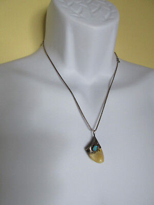 """Large Elk Tooth And Silver W/turquoise Pendant W/20"""" 925 Box Chain"""