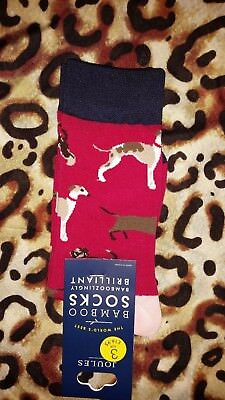 Joules Bamboo Pink Floral Print Socks 1 Pair Dog Print Bright Pink Red Size4-8