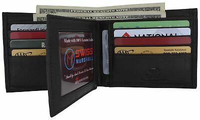 RFID Blocking Mens Genuine Leather Black Flap Credit Card ID Holder Slim Bifold