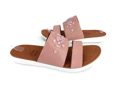 800a6ca4e787f Fitflop Crystal Women s Dusky Pink Leather Delta Slide Wedge Sandals US Size  10