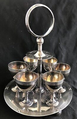 Victorian English Silver Plate Footed Egg Cup Cruet Setting For 6