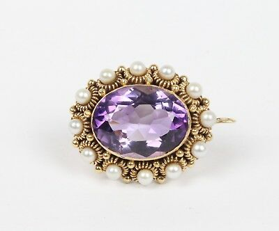 Antique 15 Carat Natural Amethyst and Pearl 14K Gold Pendant Pin