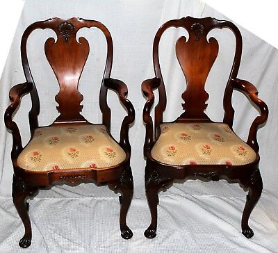 Vintage Nautical Chippendale Style Mahogany Drop Seat Armchairs, Set of Two