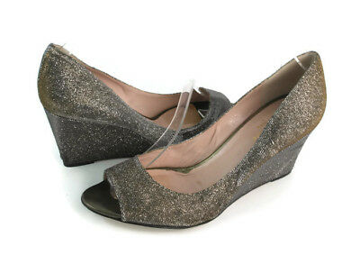 6ecbccf13198 Kate Spade Women s Gold Silver Sheen Glitter Peep Toe Wedge Pumps US Size  8.5 B