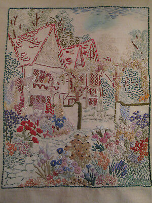 Vintage English Country Garden & Cottage Hand Embroidered Picture