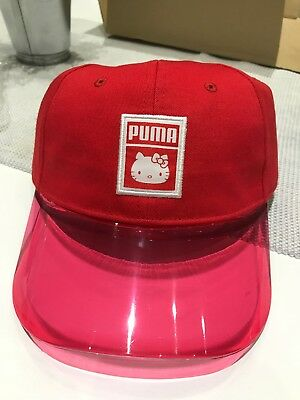 PUMA X HELLO Kitty Baseball Cap Red With Clear Visor Limited Edition ... 769a3c491fc9