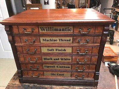 Willimantic 6 Drawer Cherry Spool Cabinet Advertising On Sides Back All Original