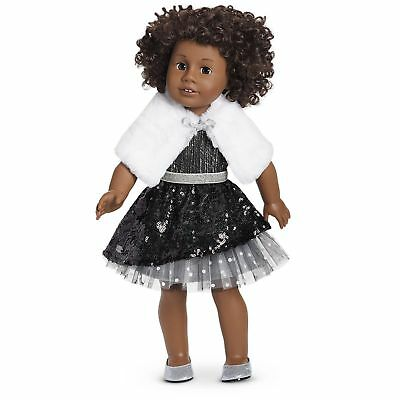 NEW AMERICAN GIRL Black Sparkle Outfit BERRY EXCLUSIVE 2017 Tulle Fur Wrap Shoes