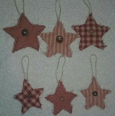 NEW, set of 6 primitive star quilted tree ornaments