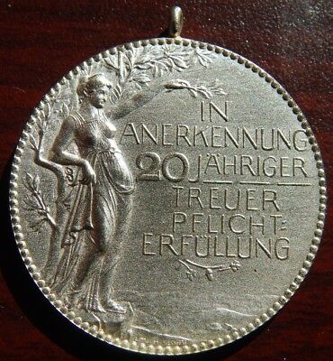 Vintage German Medal Silver 4 20 Years  Faithful Field Of Duty Pristine Shape !!