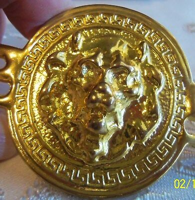 Vintage Heavy Large Gold Lion Head Greek Key Chain Link Belt Buckle beautiful