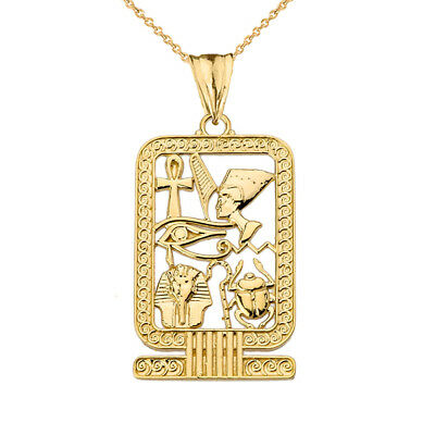 Solid 10k Yellow Gold Ancient Egyptian Cartouche Pendant Necklace