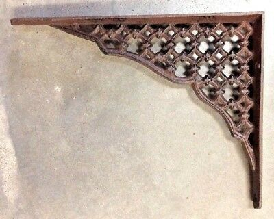 SET OF 4 LARGE LATTICE SHELF BRACKET BRACE Rustic Antique Brown Cast Iron