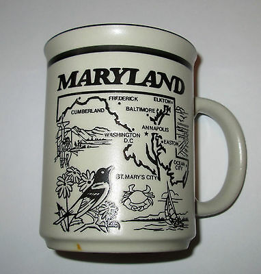 Maryland Collectible Coffee Mug Cup W/ map and State info