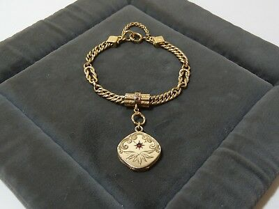 Antique Victorian Rose Gold Filled Pocket Watch Chain Slide Bracelet Locket Fob