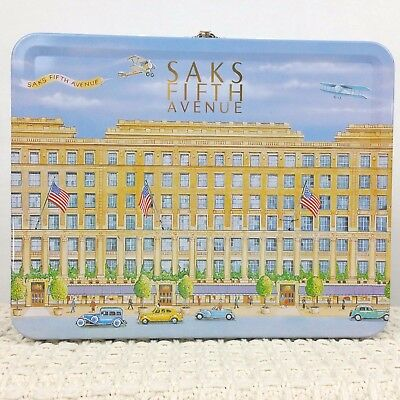 Saks Fifth Avenue Tin Metal Lunch Box Rare Collectible Lunchbox Building Planes