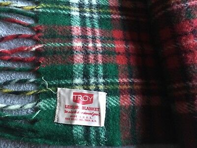 Vtg. Troy N.H. USA 100% wool plaid red and green fringed stadium blanket
