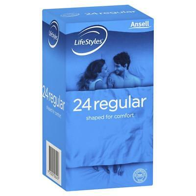 ツ Ansell Lifestyles 24 Regular Condoms Shaped For Comfort Easy Fit 54Mm