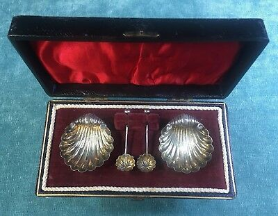 Antique CARTIER Sterling Silver Shell Shaped Salt Cellars & Spoons 1901 in Box