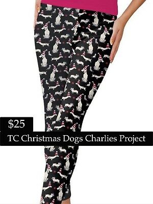 186ae99e97bfb0 Brand New With Tags TC Christmas Dogs Leggings Charlies Project Fits:16-22