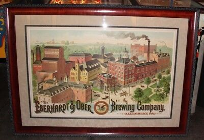 Vtg 1870s Eberhardt & Ober Brewing Co. Factory of Allegheny PA Framed Lithograph