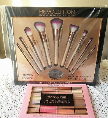 Profesional 9 BRUSHES +BLUSH&HIGHLIGHT Shade Revolution Make up Set Gift +SPONGE