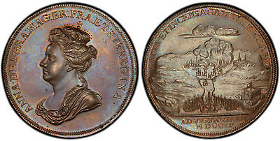 UNITED STATES, England Anne 1702 AE Medal PCGS MS66BN Battle of Vigo Bay