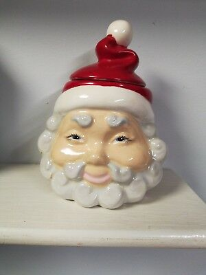Vintage Christmas Santa Claus Ceramic Small Jar Covered Candy  Bowl