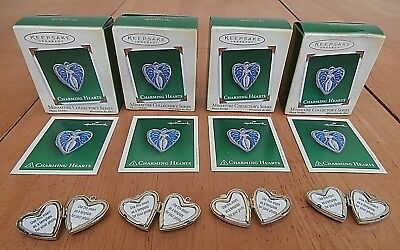 Lot of 4 Hallmark 2005 Charming Hearts Angel Locket Miniature Christmas Ornament
