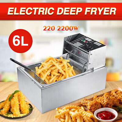 6L 2500W Commercial Electric Deep Fryer Kitchen Restaurant Frying Chip w/ Basket