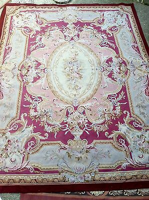 Aubusson Antique French Pastel Hand-woven Large Wool Rug