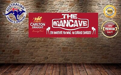 CARLTON DRAUGHT MANCAVE BANNER Work Shop Garage Shed Bar Whisky