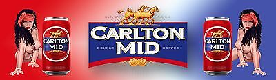 CARLTON MID   AND GIRLS  2 Banner -  Man Cave Work Shop Garage Shed Bar Whisky