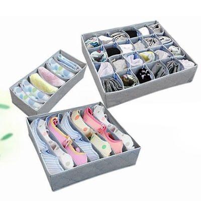 3PCS Underwear Bra Socks Ties Divider Closet Container Storage Box Organizer ABY