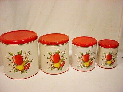 SET of 4 Decoware Tin Lithograph Canister Set Apple Pear Vtg Nesting Red White