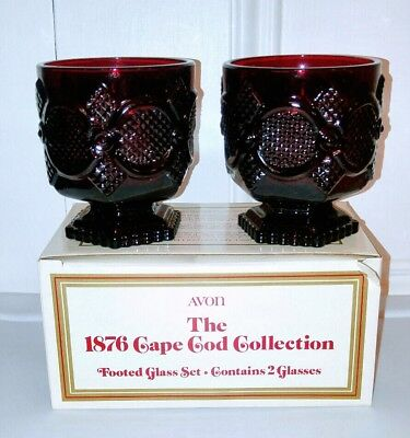 Avon 1876 Cape Cod Collection Pair Ruby Red Footed Glass Set NEW in Box