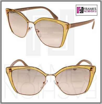 dbea8be321 PRADA MOD PR56TS Translucent Brown Pink Gold Mirrored Square Sunglasses 56T