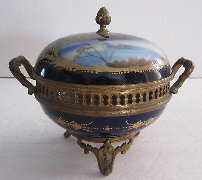 Chateau De Longpre France 19thC. Bronze Mounted Covered Bowl, H.P. Sevres Style