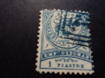 Ottoman Empire Turkey old stamp 1 piastre crescent Ayli Ampir blue