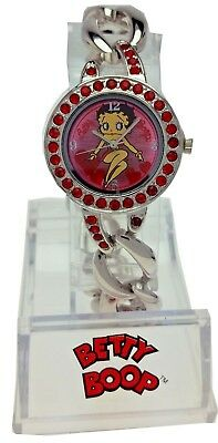 New Old Stock Betty Boop Watch Link Band Round Red Rhinestone Bezel Case
