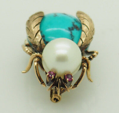 H.K. Solid Vintage 14K Yellow Gold White Pearl; Turquoise & Ruby Fly Pin/Brooch