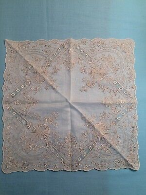 Vtg Madeira Style Creamy/White Wedding Heavy Embroidered Handkerchief Hanky NEW