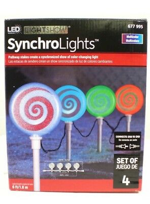 """Gemmy LED Lightshow Synchro Lights 18"""" Lollipop Candy Pathway Marker Stake New"""