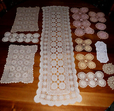 14 Vintage retro mostly rectangle lovely crocheted doilies / table runner