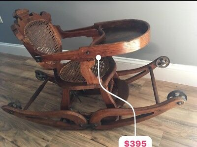 Vintage Antique Convertible CHILDS 3 WAY COMBO HIGH CHAIR, STROLLER, ROCKER