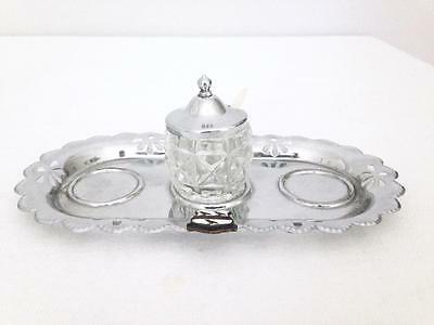 Skegness England Celtic Tray With Glass Salt Dish Cellar Silverplate Souvenir