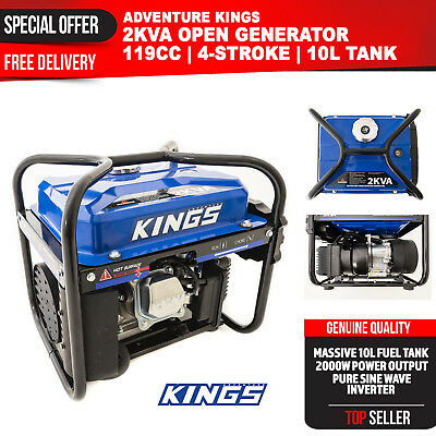 2kVA Generator Petrol Pure Sine Power Inverter Portable Camping Rated 2000W