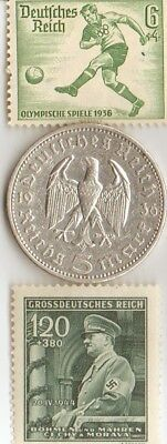 - *german Olympic stamp and 1936 5 mk SILVER(.900%,.29 mm,.4016 oz) coin